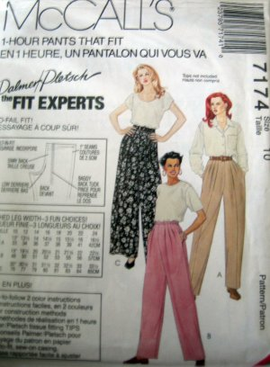 M7174 Sewing Pattern 1 Hour Pants Variations Size 10