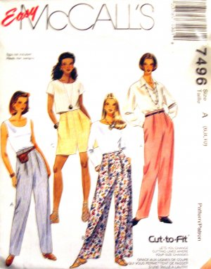 M7496 McCall's Sewing Pattern Pants Shorts 6 8 10