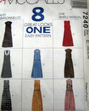 M7240 Sewing Pattern Jumper Dress Long Vary 10 12 14