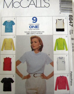 M8847 New Sewing Pattern Top Collar Sleeve Vary 8 10 12