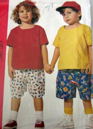 M7048 Sewing Pattern Child Girl Boy Top Short sz 2 3 4