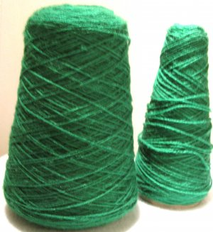 Green Acrylic Knitting Machine or Hand Crochet Cone Yarn Thread Fingering or Lace Weight
