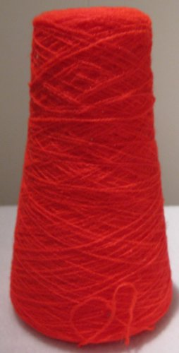 Acid Neon Red Acrylic Knitting Machine or Hand Crochet Cone Yarn Thread Fingering or Lace Weight