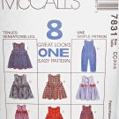 M7831 Sewing Pattern Child Size 2 3 4 Unisex Play Suit Romper or Dress with Variations
