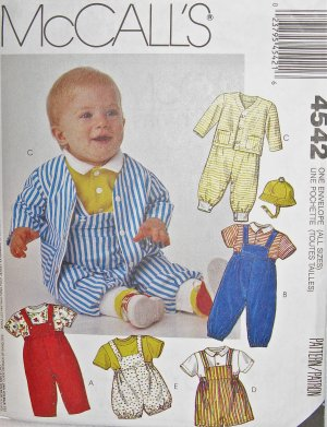 M4542 Sewing Pattern Newborn to Toddler Size Unisex Play Suit Romper with Variations