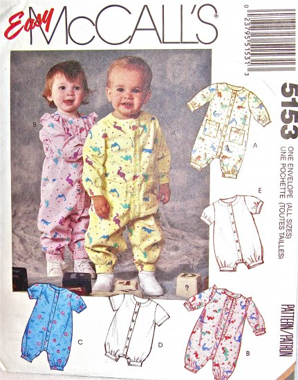 M5153 Sewing Pattern Newborn to Toddler Size Unisex Play Suit Romper with Variations