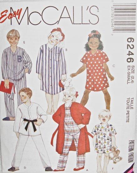 M6246 Sewing Pattern Child Girl Boy Top Short Sleepwear sz 2 3 4