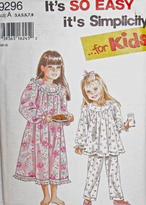 S9296 Sewing Pattern Child Girl Dress Nightgown Pajamas sz 3 4 5 6 7 8