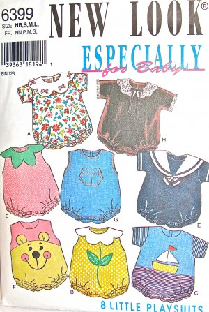 S6399 Sewing Pattern Newborn to Toddler Size Unisex Play Suit Romper with Variations