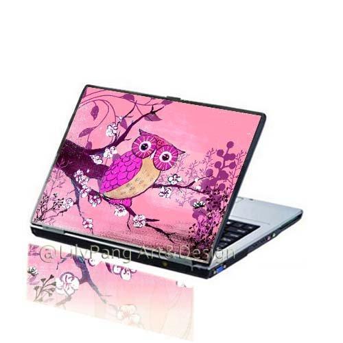 Owl Pink Customizable Laptop Skin