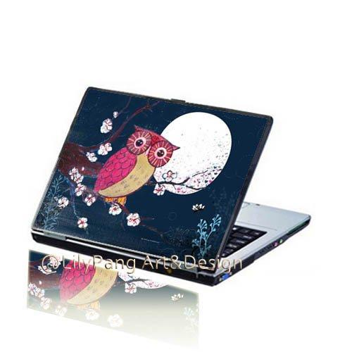 Moonlight Owl Customizable Laptop Skin