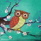 Small Print Owl Green