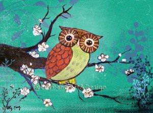Small Print Owl Green