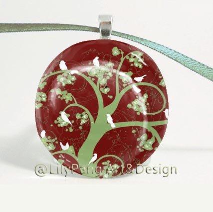 Tree of Life Round Glass Pendant