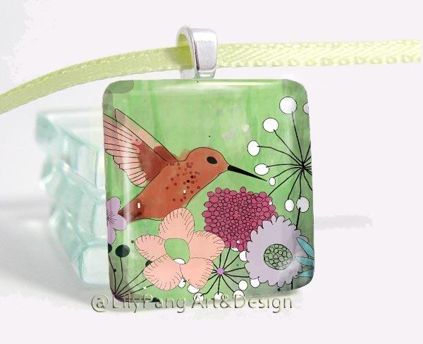 Humming Bird Square Glass Pendant