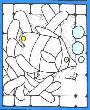 Q3486 Tropical Fish Stained Glass rubber stamp