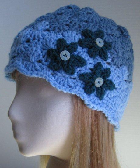 Handmade Crochet Cloche Beanie Hat Skull Cap - Md. Dusty Blue, Lt. Sky Blue & Dark Teal Green