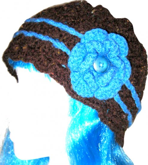 Handmade Crochet Cloche Beanie Hat Skull Cap - Chocolate Brown with Turquoise Blue Rose