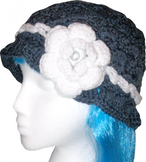 Handmade Crochet Cloche Beanie Hat Skull Cap - Dark Denim Blue, White Rose