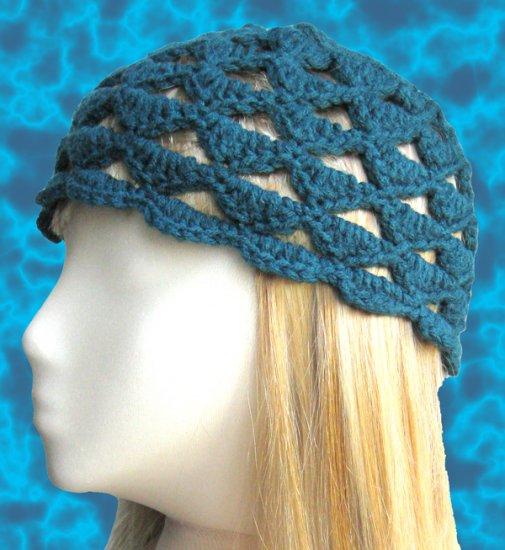 Handmade Crochet Cloche Beanie Hat Skull Cap - Dark Teal Green