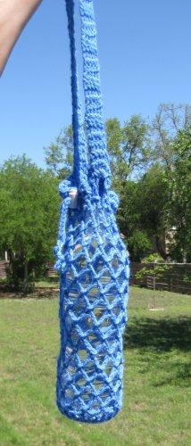 Handmade Crochet Water Bottle Bag w/ Drawstring - Blue