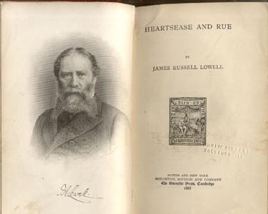 HEARTSEASE & RUE James Russell Lowell POEMS Poetry 1888 1st HB