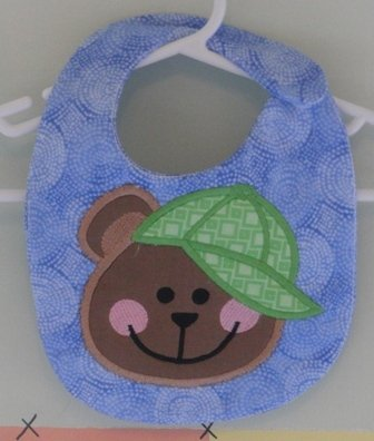 Embroidered Appliqued  Baby Bib - Teddy Bear BB Hat