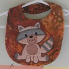 Embroidered Appliqued  Baby Bib - Racoon