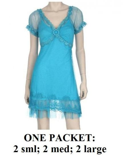 $7.00 PER PIECE; 6 dresses in a PACKET; Turquoise Blue Lace Dress, 2s,2m,2L