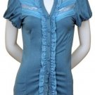 $6.25 PER PIECE; 7 tops in a PACKET; Lace and Ruffle Top (SKY BLUE) -2s,2m,2L,1XL
