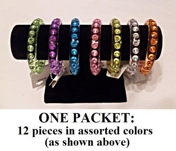$1.00 PER PIECE; Assorted Rainbow Gemstone Bangles,12 assorted pieces