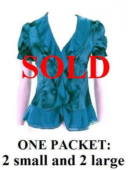 $6.25 PER PIECE; 5 tops in a PACKET; Teal Ruffle Blouse-2s, 1m, 2L