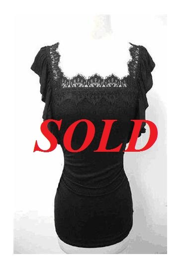 $6.25 PER PIECE; 4 tops in a PACKET; Butterfly Top* (BLACK) - 3s and 1m