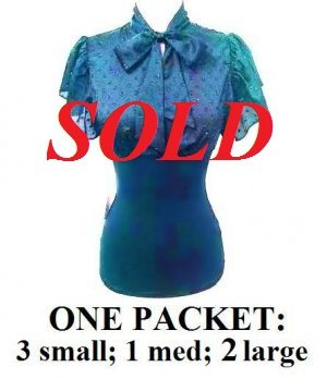 $6.25 PER PIECE; 6 tops in a PACKET; Tie Front Top (TEAL GREEN color)-  3s,1m,2L