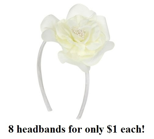 $1.00 PER PIECE; ALL WHITE Rose headband (8 pieces)