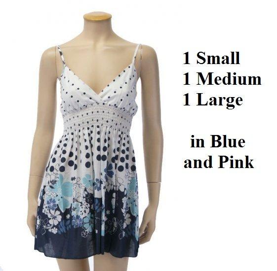 MIXED LOT, 6 Babydoll Flower dresses (2s,2m,2L)