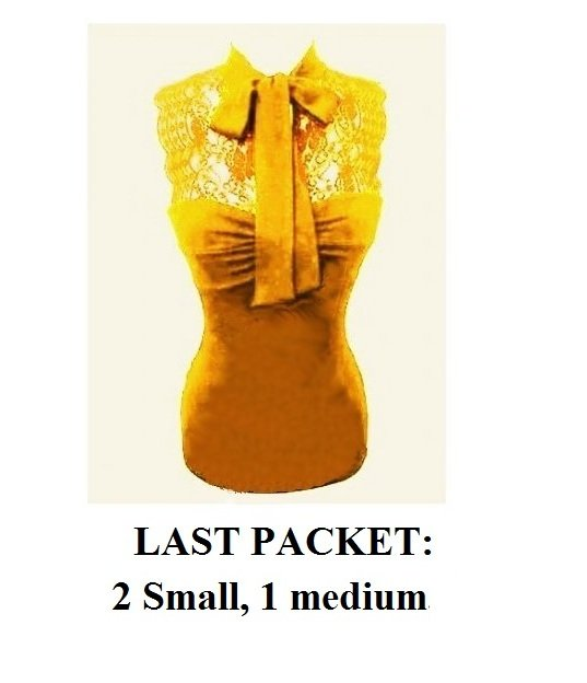 $6.25 PER PIECE; 3 tops in PACKET; Vintage Yellow Sexy Lace Top - 2S, 1M,