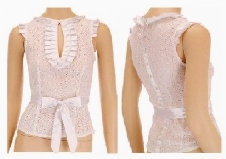 $6.25 PER PIECE; 6 tops in a PACKET; Dressy White Eyelet Tank- 2s,2m,2L