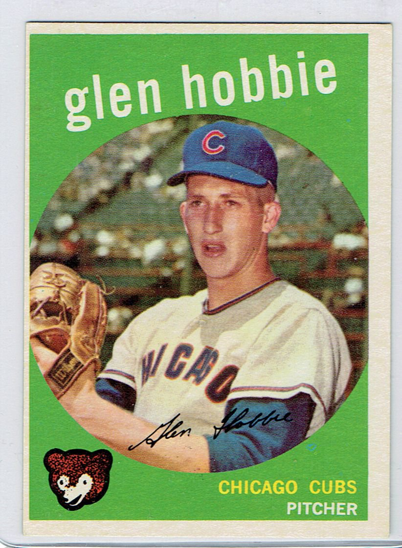 1959 Topps Glen Hobbie 334 Chicago Cubs Baseball Card Cards