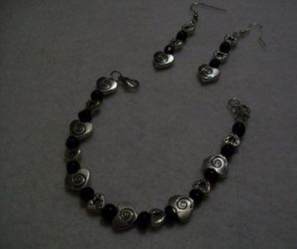Silver and Black Bracelet Earring Set