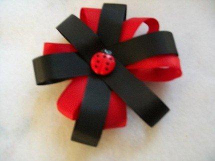 Satin Ladybug Bow