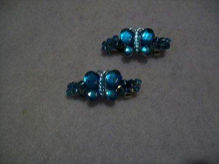 Aqua Blue Glass Barrettes