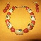 Chinese/Rose Bracelet Earring Set