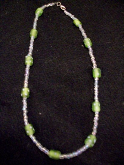Green/White Polka Dot and Clear Glass Necklace
