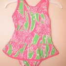 Lilly Pulitzer Ruth Printed Swimsuit SeaGrass Green Easy Tiger  3 - 6 Months