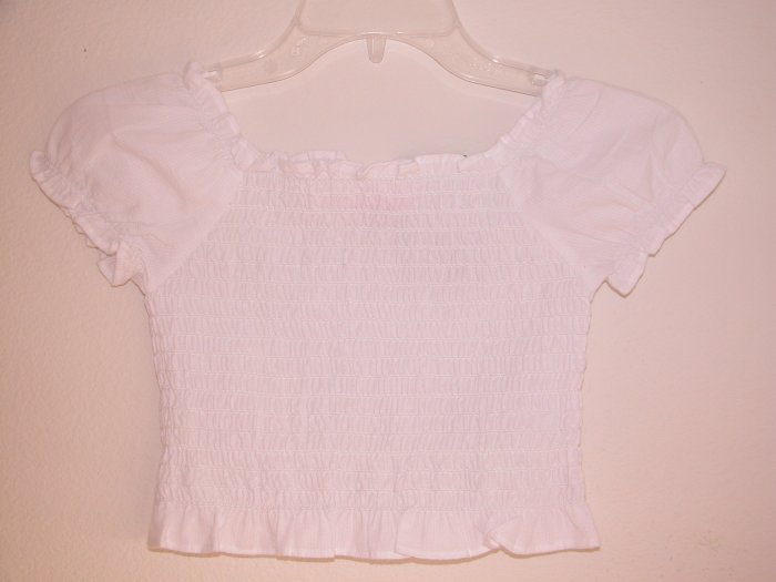 Lilly Pulitzer Ashby Top Pure White Smocked Shirt Girls Size 7