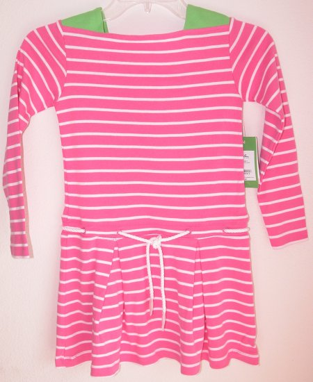 Lilly Pulitzer Maddy Striped Dress Skinny Pink Girsl Size  7