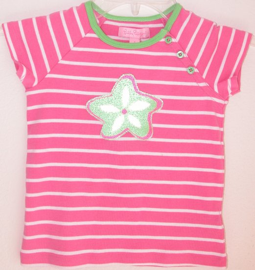 Lilly Pulitzer Olive Striped Top Hibiscus Pink Toddler Girls Size 3