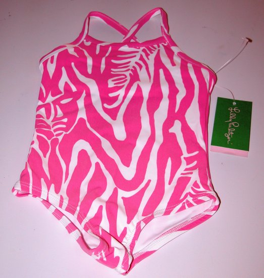 Lilly Pulitzer Grettle Swimsuit Hibiscus Pink Catching ZZZs Toddler Girl 2