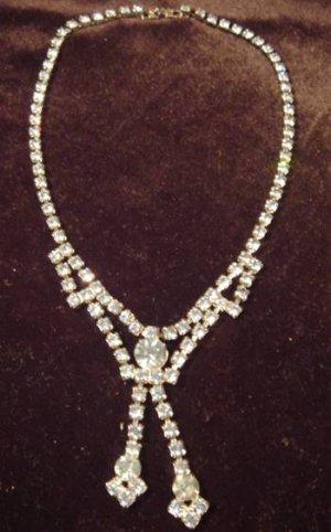 Vintage Prom Necklace Blue Rhinestones GORGEOUS!